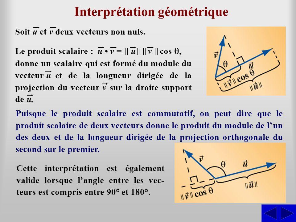 Interprétation géométrique Soit u et v deux vecteurs non nuls. Le produit scalaire : u v = u v cos, donne un scalaire qui est formé du module du vecte
