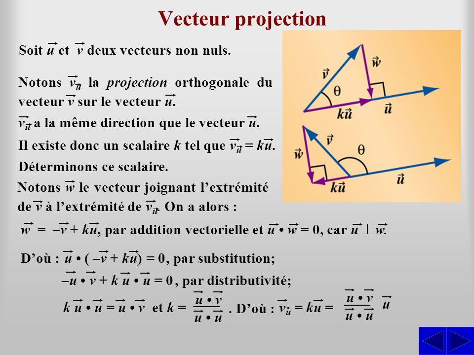 Vecteur projection Soit u et v deux vecteurs non nuls. Déterminons ce scalaire. Il existe donc un scalaire k tel que v u = ku. Notons v u la projectio