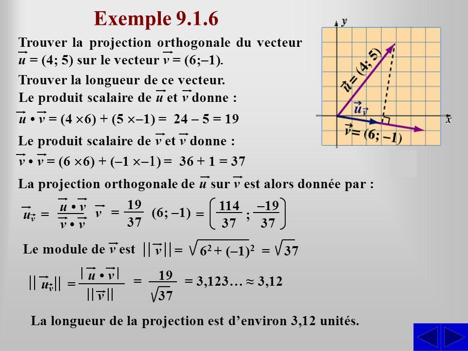 Exemple 9.1.6 Trouver la projection orthogonale du vecteur u = (4; 5) sur le vecteur v = (6;–1). Trouver la longueur de ce vecteur. u v = (4 6) + (5 –
