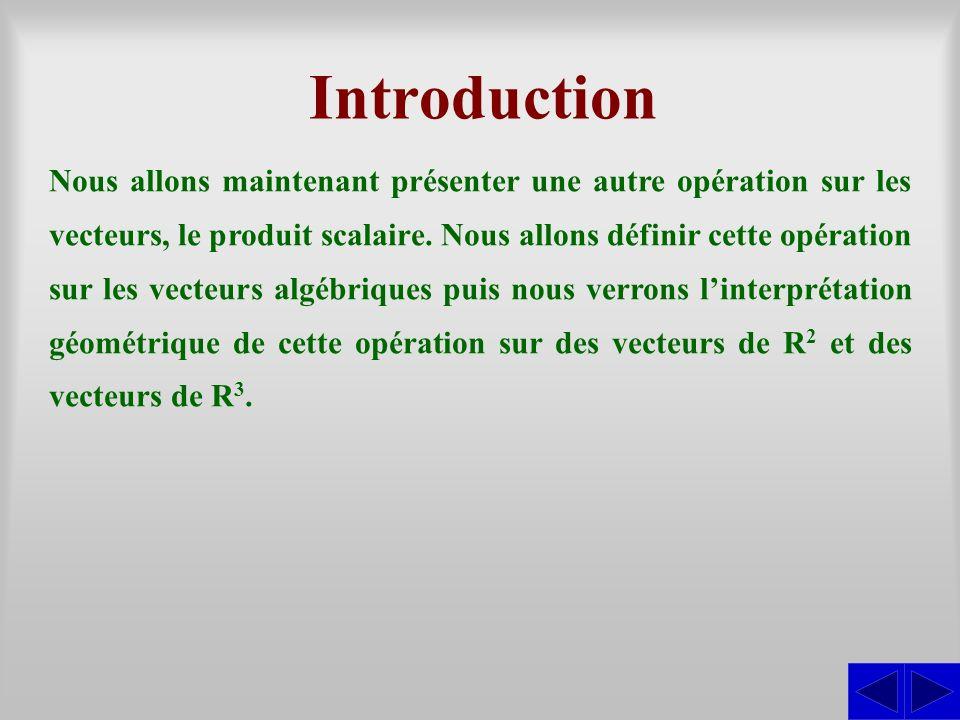 Introduction Nous allons maintenant présenter une autre opération sur les vecteurs, le produit scalaire. Nous allons définir cette opération sur les v
