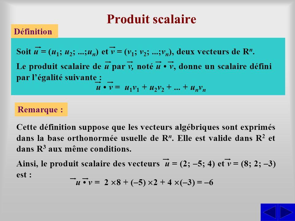 Produit scalaire Définition Cette définition suppose que les vecteurs algébriques sont exprimés dans la base orthonormée usuelle de R n. Elle est vali