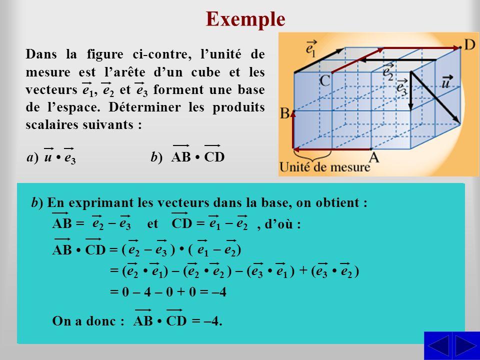 e 3 = 1 SS Exemple AB CDb)b) a) On a :etu = 2 2 + 2 2 = 8 = 2 2 (u e 3 ) = 45° De plus,, doù cos (u e 3 ) = 2222 Par conséquent : u e 3 = ue3e3 cos (u