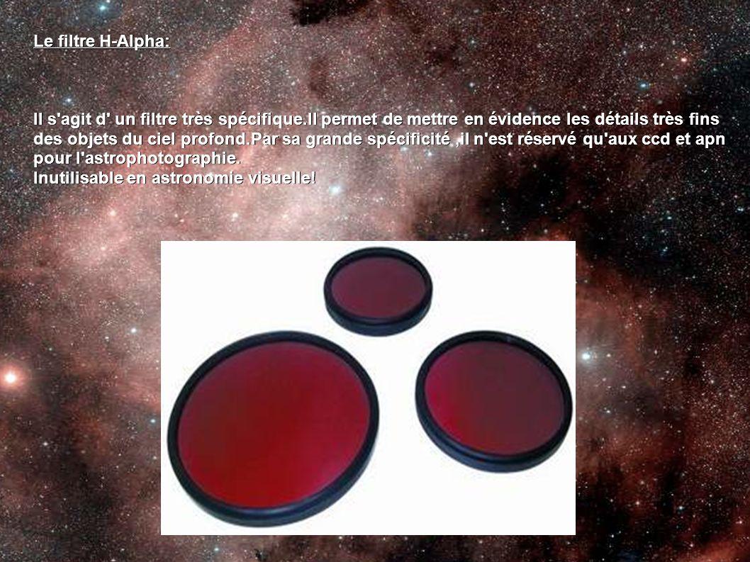 Le filtre H-Alpha: Il s'agit d' un filtre très spécifique.Il permet de mettre en évidence les détails très fins des objets du ciel profond.Par sa gran