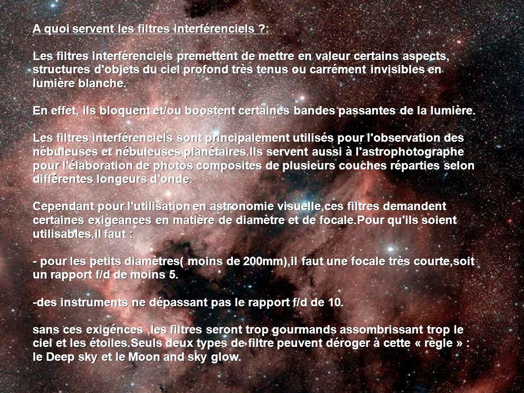 A quoi servent les filtres interférenciels ?: Les filtres interférenciels premettent de mettre en valeur certains aspects, structures d'objets du ciel
