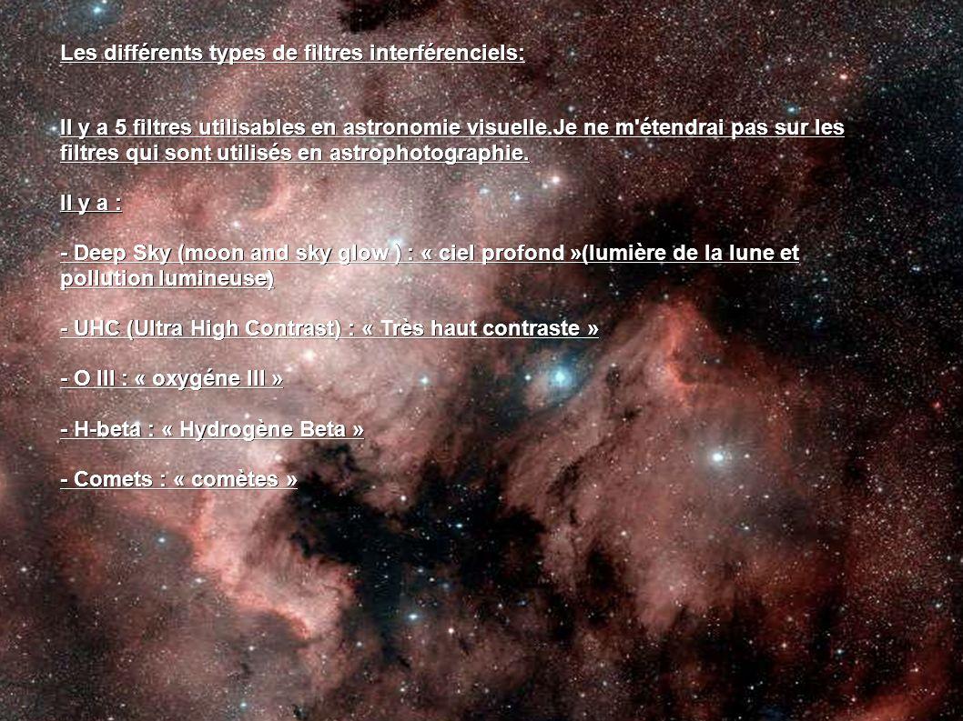 Les différents types de filtres interférenciels: Il y a 5 filtres utilisables en astronomie visuelle.Je ne m'étendrai pas sur les filtres qui sont uti