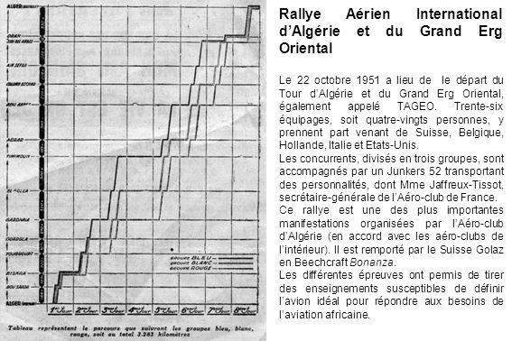 Rallye Aérien International dAlgérie et du Grand Erg Oriental Le 22 octobre 1951 a lieu de le départ du Tour dAlgérie et du Grand Erg Oriental, égalem
