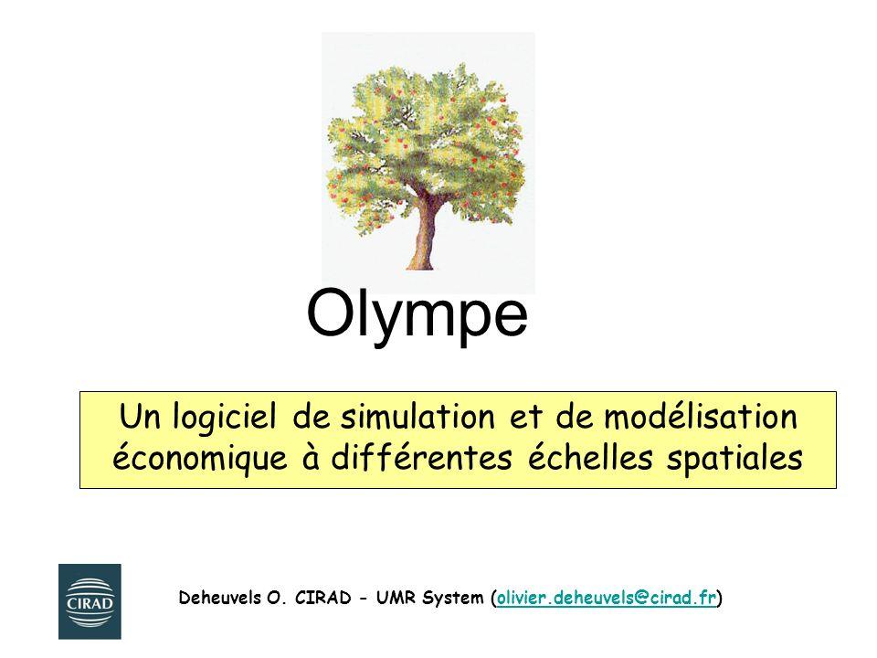 Olympe : résumé du modèle conceptuel Base dinfos - Unités -Taxes + Base dinformations - Noms et Prix unitaires des Variables classées par catégories de Produits et de Charges -Calendrier des périodes de travail disponibles + Base dinformations -quantités/ha -Temps de travaux nécessaires Aléas (Climat/ Prix) Simulateur + Base de procédures de calcul Simulateur RESULTAT Procédures Edition Comparaison