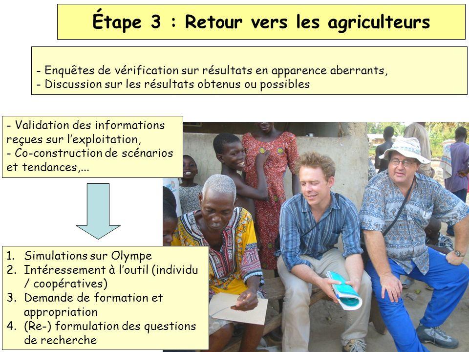 - Enquêtes de vérification sur résultats en apparence aberrants, - Discussion sur les résultats obtenus ou possibles Étape 3 : Retour vers les agricul