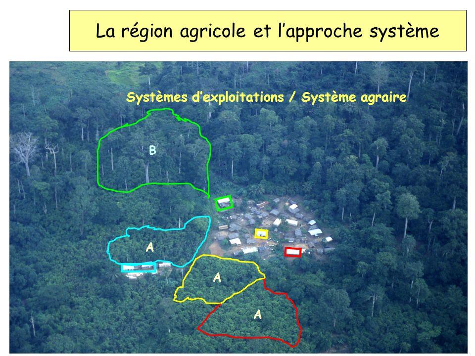 La région agricole et lapproche système Systèmes dexploitations / Système agraire A A A B