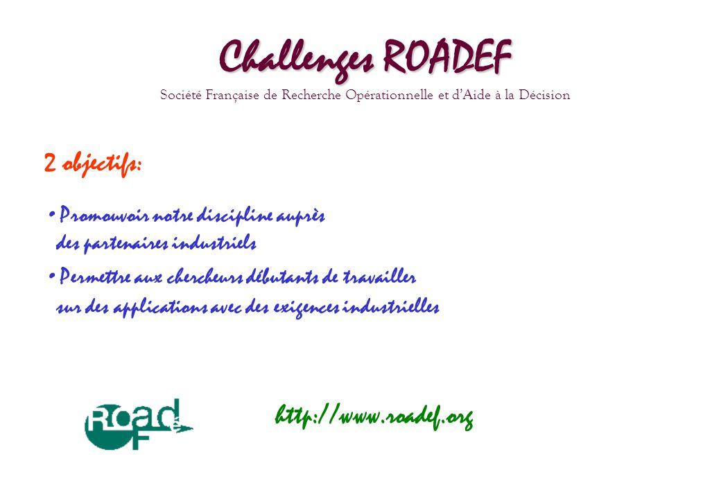 Challenges ROADEF Société Française de Recherche Opérationnelle et dAide à la Décision 2 objectifs: Promouvoir notre discipline auprès des partenaires