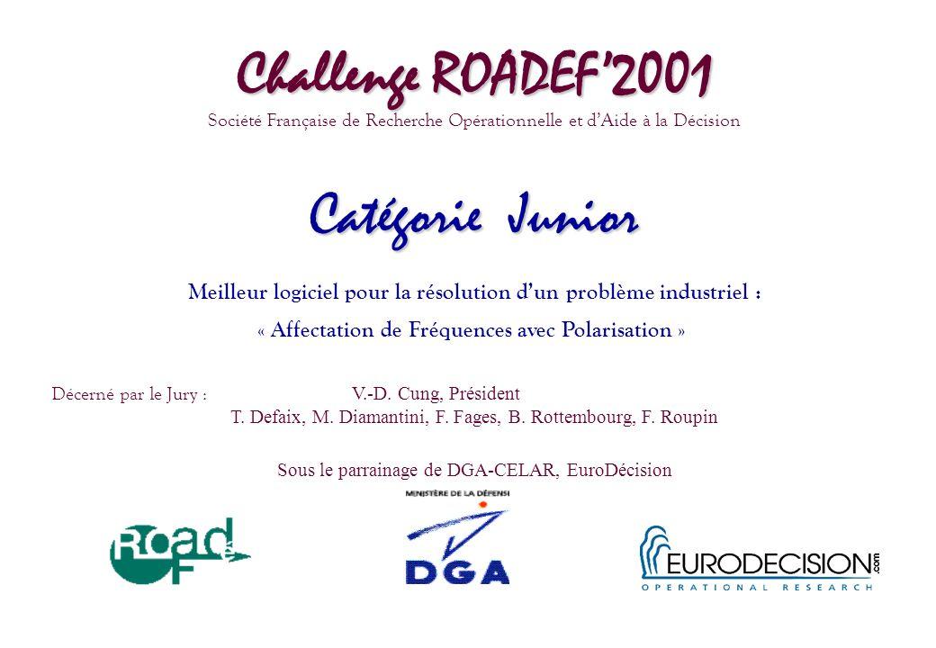Challenge ROADEF2001 Société Française de Recherche Opérationnelle et dAide à la Décision Catégorie Junior Meilleur logiciel pour la résolution dun pr