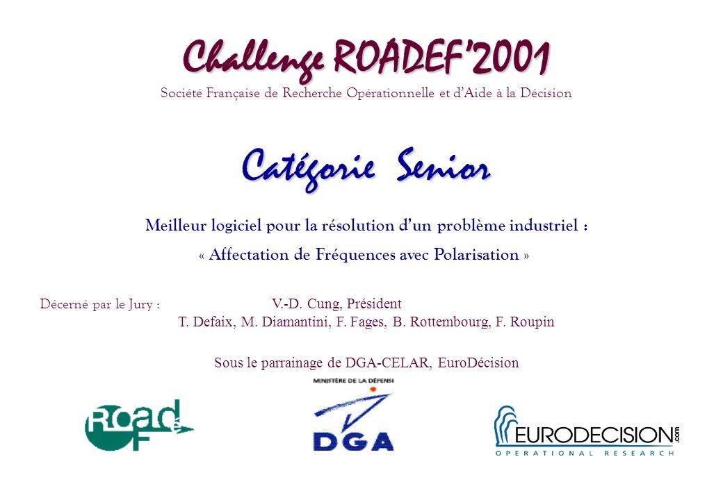 Challenge ROADEF2001 Société Française de Recherche Opérationnelle et dAide à la Décision Catégorie Senior Meilleur logiciel pour la résolution dun pr