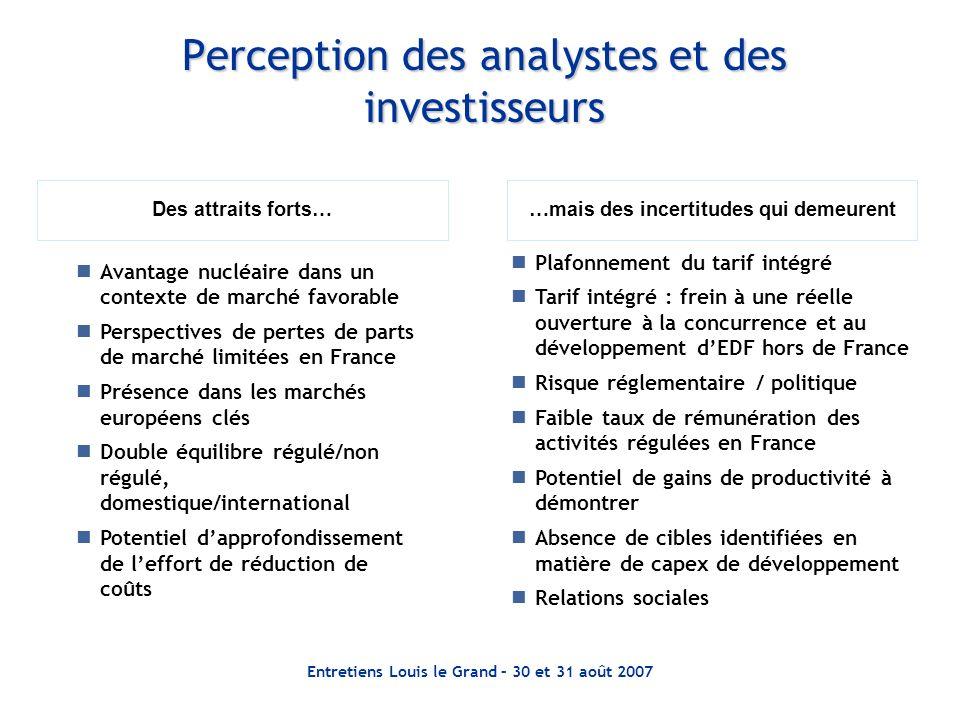 Entretiens Louis le Grand – 30 et 31 août 2007 Perception des analystes et des investisseurs Des attraits forts……mais des incertitudes qui demeurent A