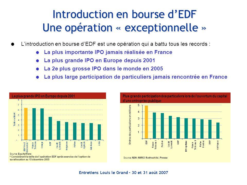 Entretiens Louis le Grand – 30 et 31 août 2007 Introduction en bourse dEDF Une opération « exceptionnelle » Lintroduction en bourse dEDF est une opéra
