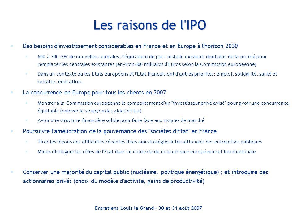Entretiens Louis le Grand – 30 et 31 août 2007 Les raisons de l'IPO Des besoins d'investissement considérables en France et en Europe à l'horizon 2030