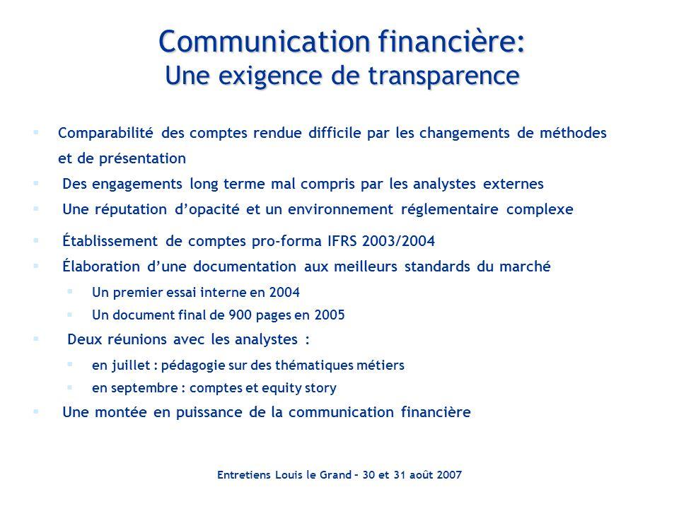Entretiens Louis le Grand – 30 et 31 août 2007 Communication financière: Une exigence de transparence Comparabilité des comptes rendue difficile par l