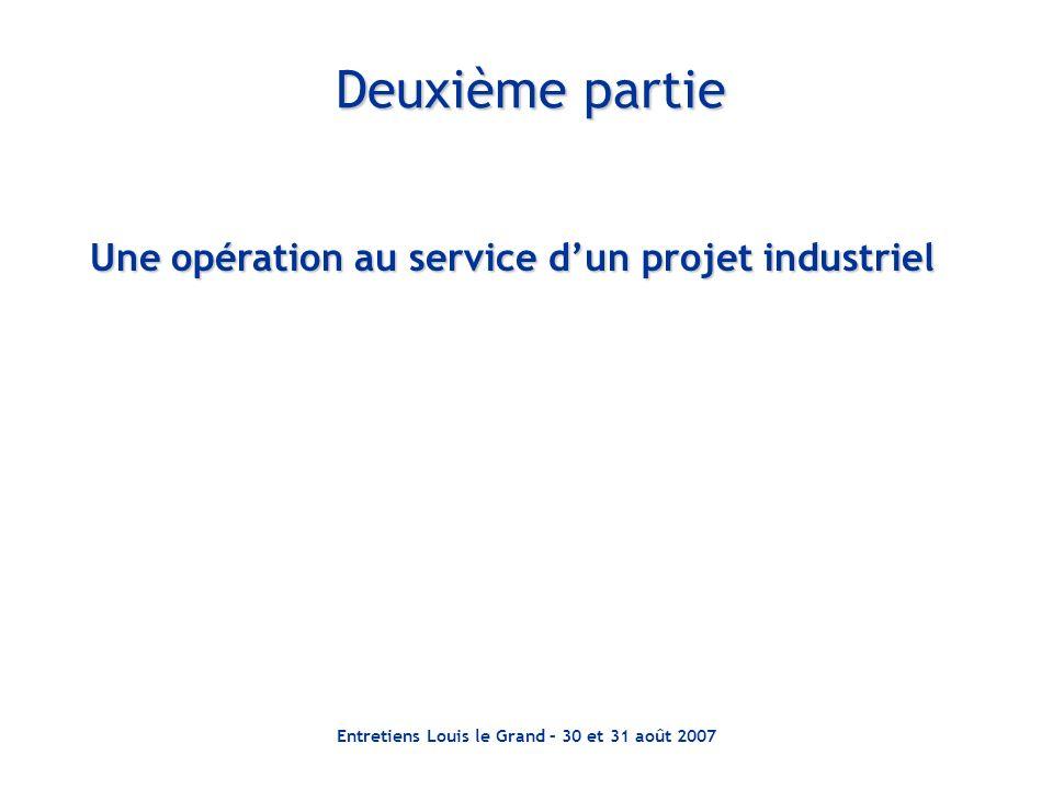 Entretiens Louis le Grand – 30 et 31 août 2007 Deuxième partie Une opération au service dun projet industriel