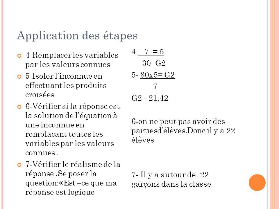 Application des étapes 4-Remplacer les variables par les valeurs connues 5-Isoler linconnue en effectuant les produits croisées 6-Vérifier si la répon