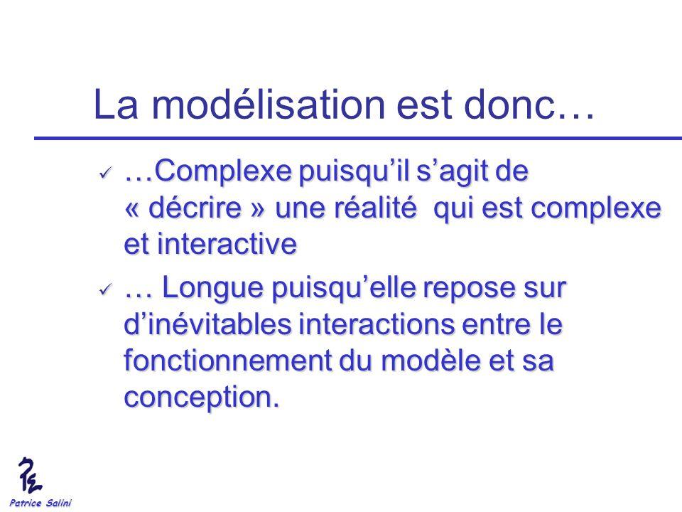 Patrice Salini La modélisation est donc… …Complexe puisquil sagit de « décrire » une réalité qui est complexe et interactive …Complexe puisquil sagit