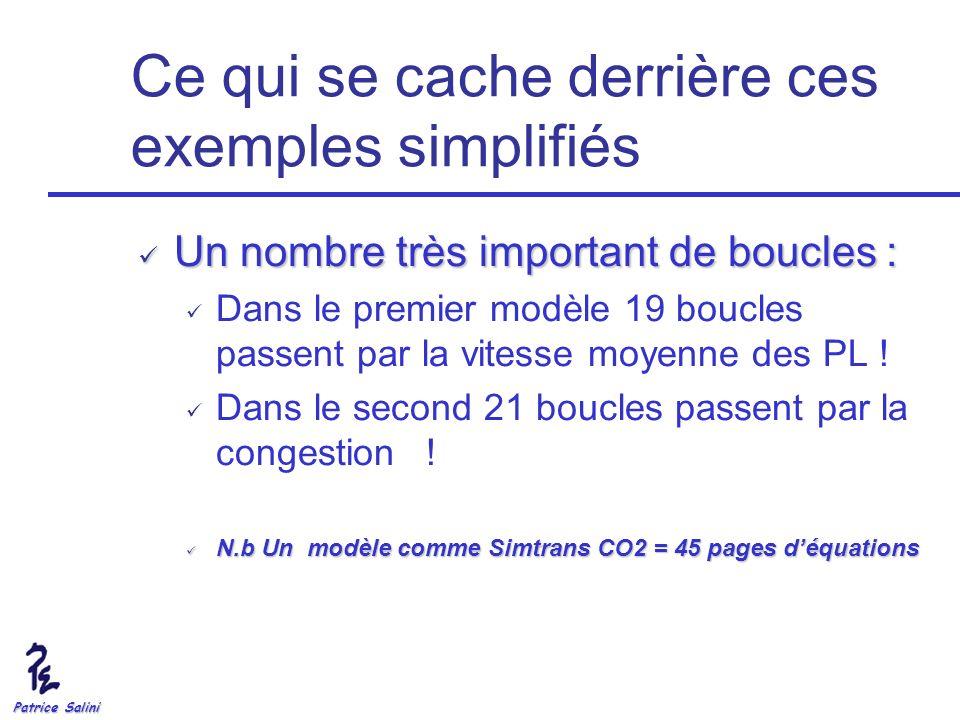 Patrice Salini Ce qui se cache derrière ces exemples simplifiés Un nombre très important de boucles : Un nombre très important de boucles : Dans le pr