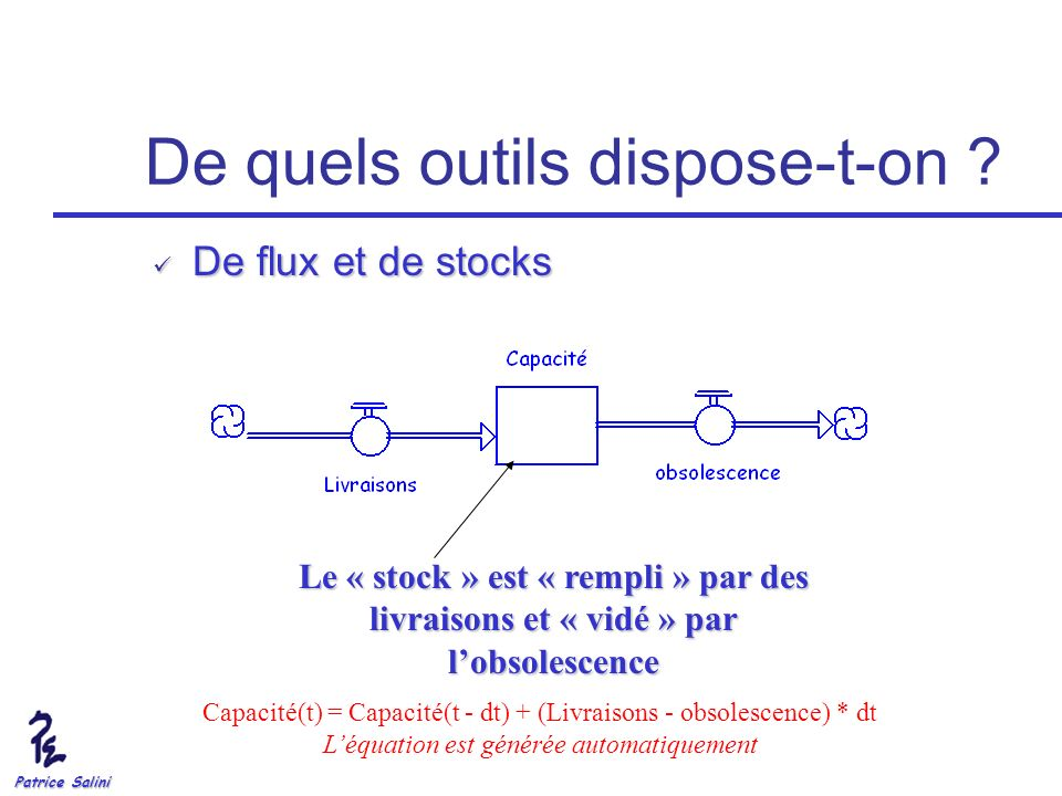 Patrice Salini De quels outils dispose-t-on ? De flux et de stocks De flux et de stocks Le « stock » est « rempli » par des livraisons et « vidé » par