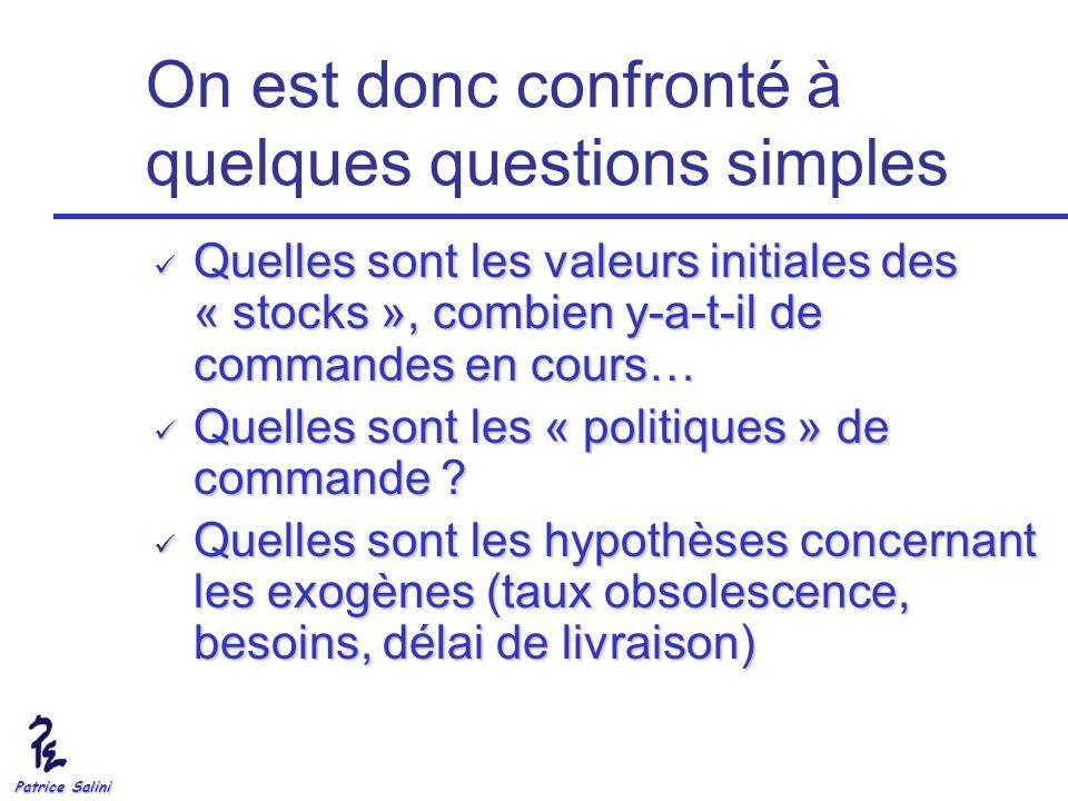 Patrice Salini On est donc confronté à quelques questions simples Quelles sont les valeurs initiales des « stocks », combien y-a-t-il de commandes en