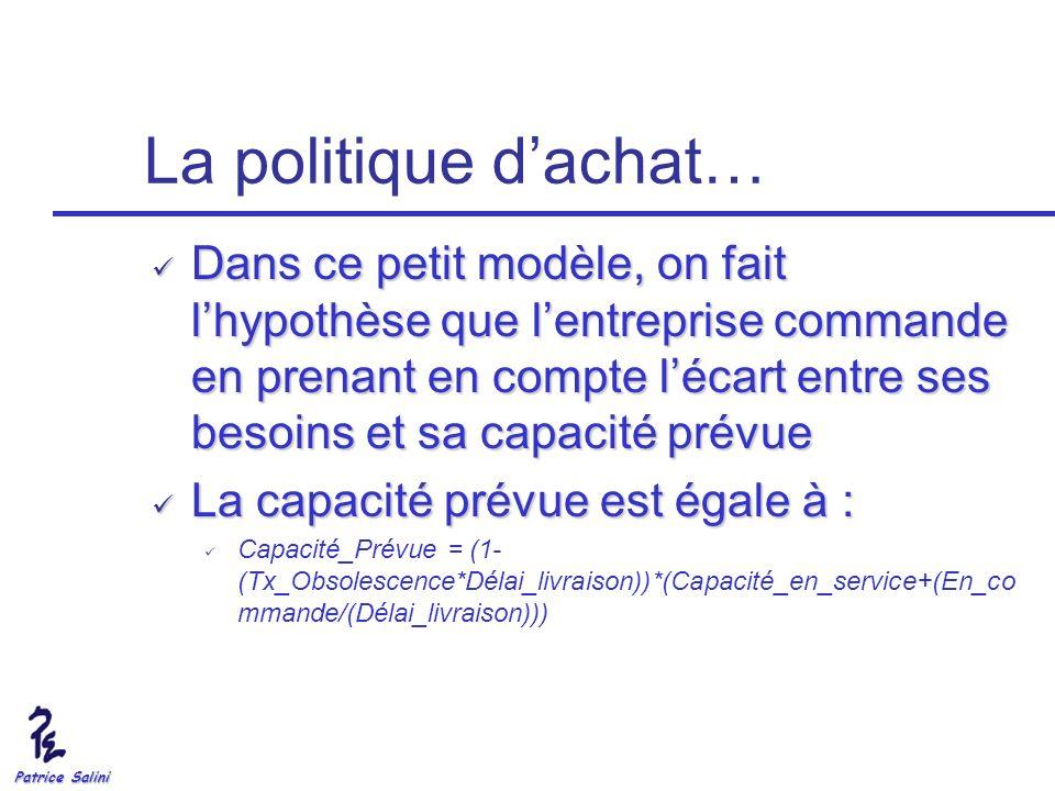 Patrice Salini La politique dachat… Dans ce petit modèle, on fait lhypothèse que lentreprise commande en prenant en compte lécart entre ses besoins et