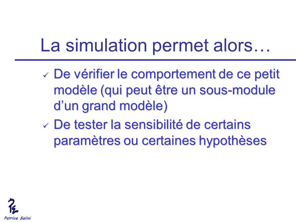 Patrice Salini La simulation permet alors… De vérifier le comportement de ce petit modèle (qui peut être un sous-module dun grand modèle) De vérifier