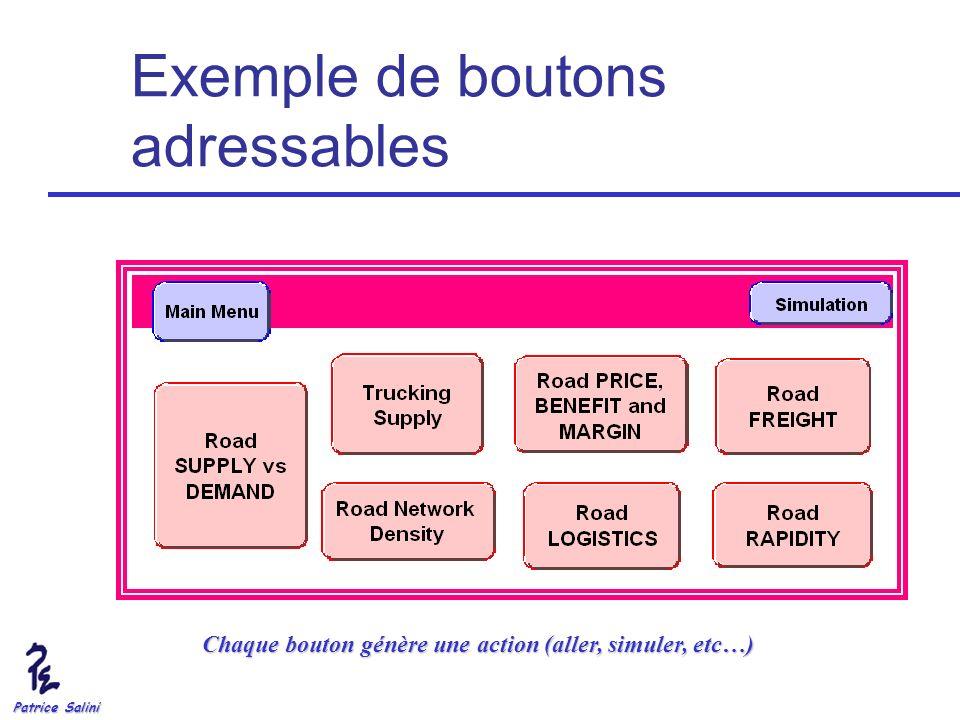 Patrice Salini Exemple de boutons adressables Chaque bouton génère une action (aller, simuler, etc…)
