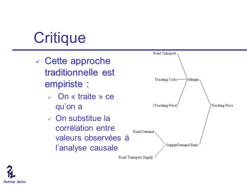 Patrice Salini Critique Cette approche traditionnelle est empiriste : Cette approche traditionnelle est empiriste : On « traite » ce quon a On substit