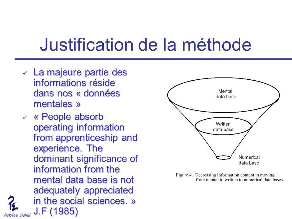 Patrice Salini Justification de la méthode La majeure partie des informations réside dans nos « données mentales » La majeure partie des informations