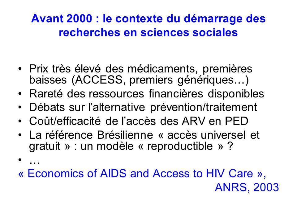 Avant 2000 : le contexte du démarrage des recherches en sciences sociales Prix très élevé des médicaments, premières baisses (ACCESS, premiers génériq