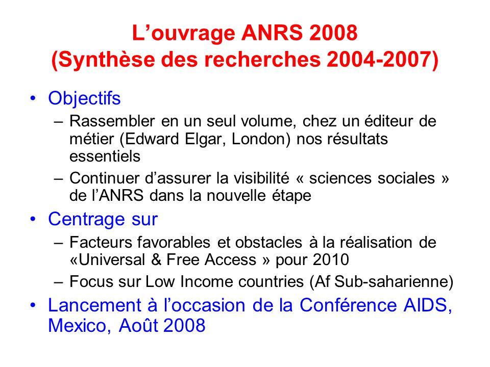 Louvrage ANRS 2008 (Synthèse des recherches 2004-2007) Objectifs –Rassembler en un seul volume, chez un éditeur de métier (Edward Elgar, London) nos r