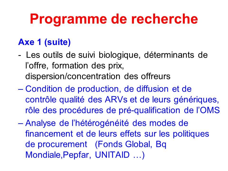 Programme de recherche Axe 1 (suite) - Les outils de suivi biologique, déterminants de loffre, formation des prix, dispersion/concentration des offreu