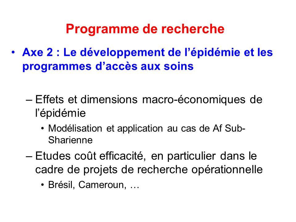 Programme de recherche Axe 2 : Le développement de lépidémie et les programmes daccès aux soins –Effets et dimensions macro-économiques de lépidémie M