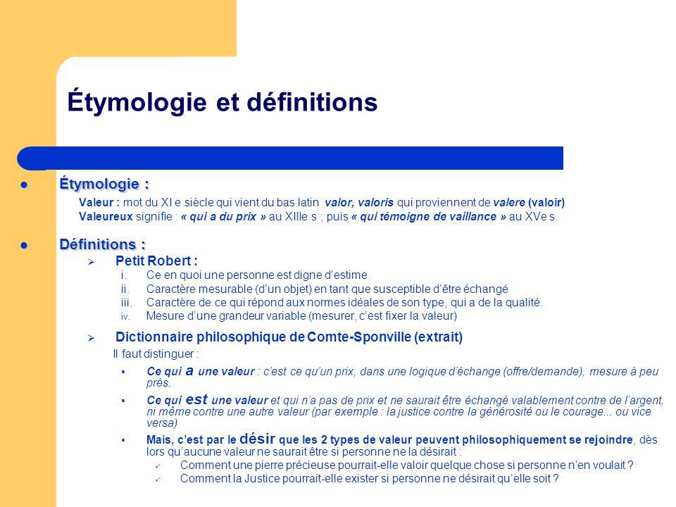 Étymologie et définitions Étymologie : Étymologie : Valeur : mot du XI e siècle qui vient du bas latin valor, valoris qui proviennent de valere (valoi