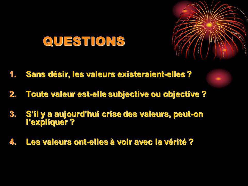 QUESTIONS 1.Sans désir, les valeurs existeraient-elles ? 2.Toute valeur est-elle subjective ou objective ? 3.Sil y a aujourdhui crise des valeurs, peu