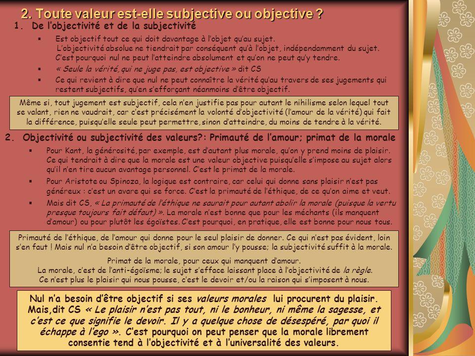 2. Toute valeur est-elle subjective ou objective ? 1.De lobjectivité et de la subjectivité Est objectif tout ce qui doit davantage à lobjet quau sujet