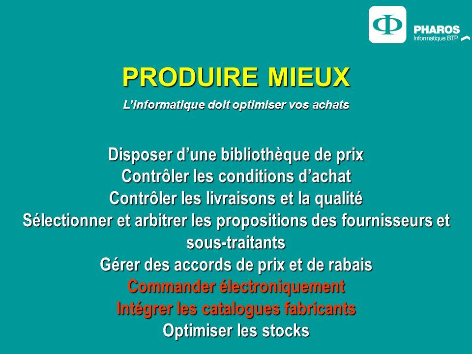 PRODUIRE MIEUX Linformatique doit optimiser vos achats Disposer dune bibliothèque de prix Contrôler les conditions dachat Contrôler les livraisons et