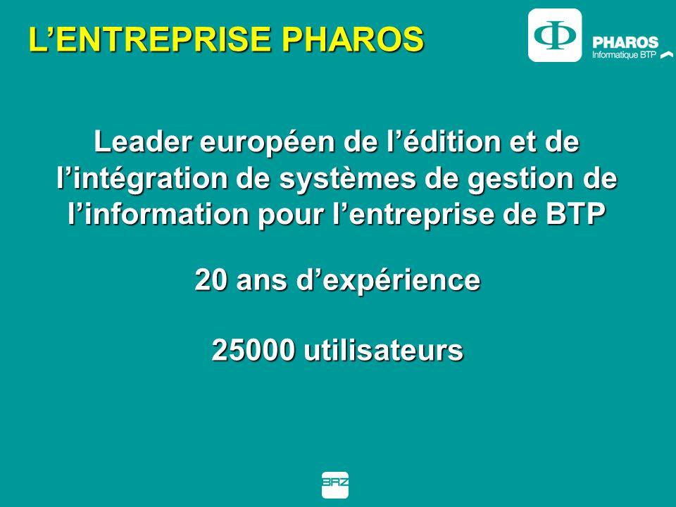 Leader européen de lédition et de lintégration de systèmes de gestion de linformation pour lentreprise de BTP 20 ans dexpérience LENTREPRISE PHAROS 25