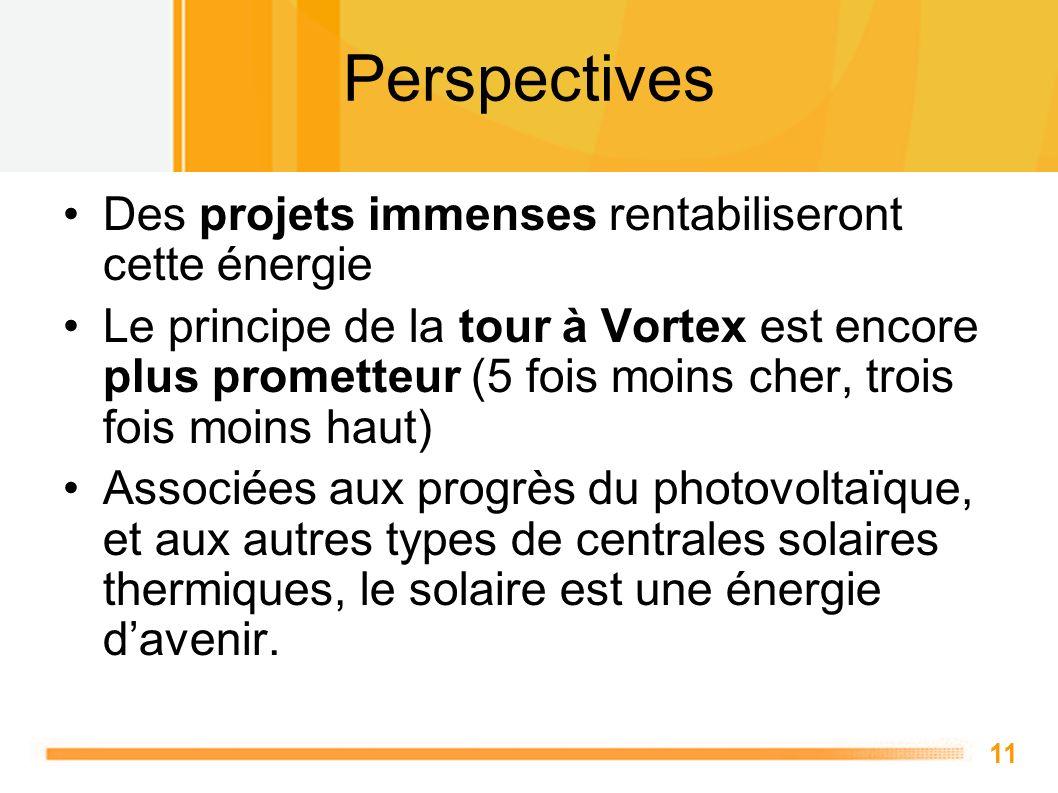11 Perspectives Des projets immenses rentabiliseront cette énergie Le principe de la tour à Vortex est encore plus prometteur (5 fois moins cher, troi