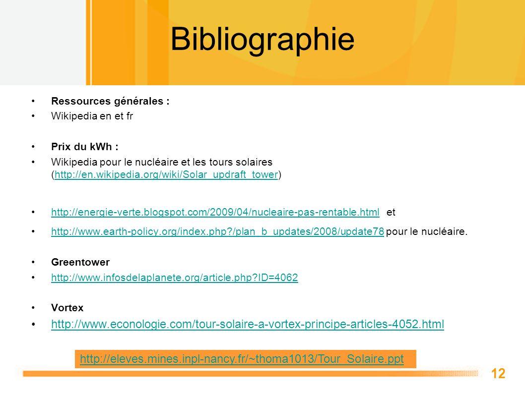 12 Bibliographie Ressources générales : Wikipedia en et fr Prix du kWh : Wikipedia pour le nucléaire et les tours solaires (http://en.wikipedia.org/wi
