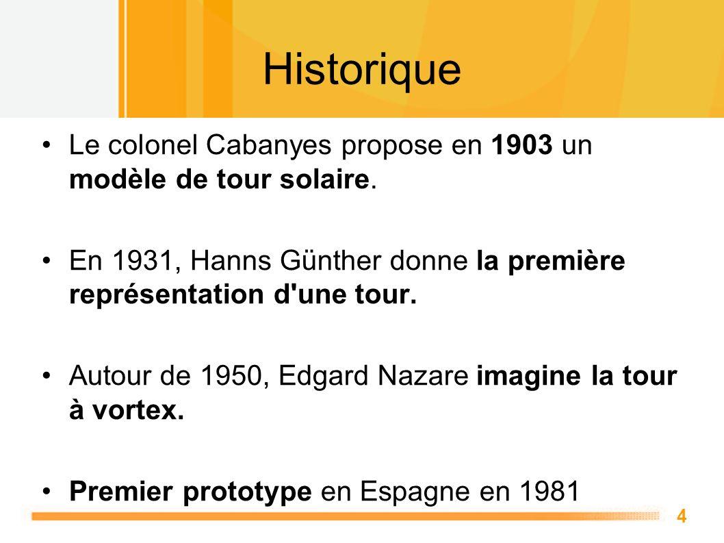 4 Historique Le colonel Cabanyes propose en 1903 un modèle de tour solaire. En 1931, Hanns Günther donne la première représentation d'une tour. Autour