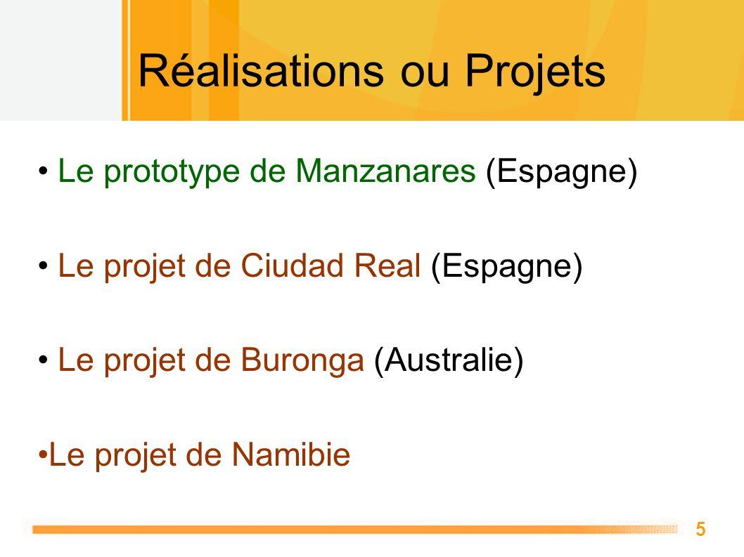 5 Réalisations ou Projets Le prototype de Manzanares (Espagne) Le projet de Ciudad Real (Espagne) Le projet de Buronga (Australie) Le projet de Namibi