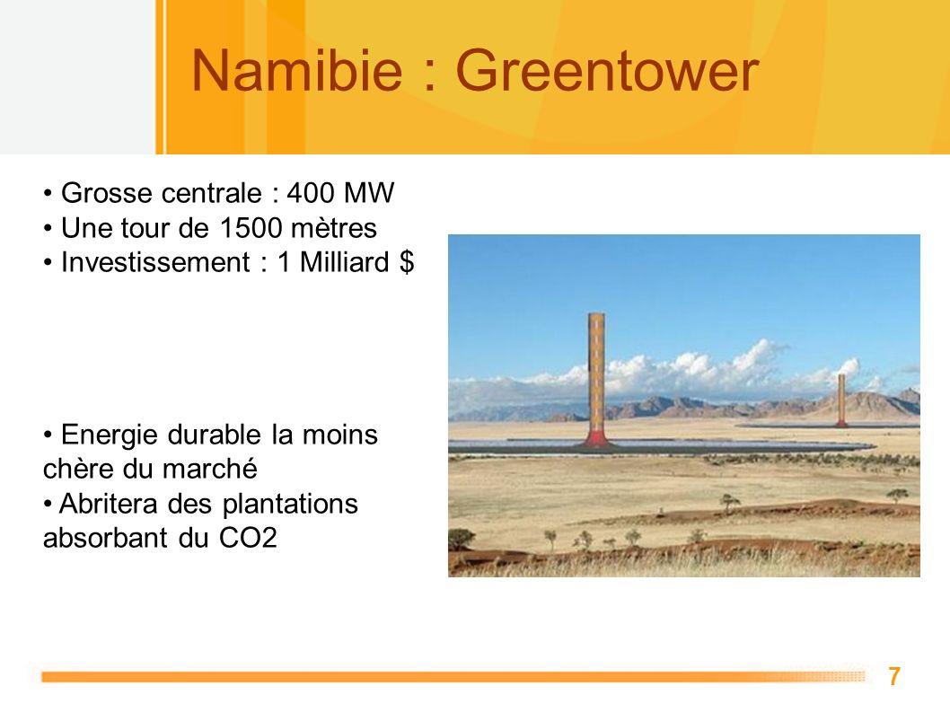 7 Namibie : Greentower Grosse centrale : 400 MW Une tour de 1500 mètres Investissement : 1 Milliard $ Energie durable la moins chère du marché Abriter