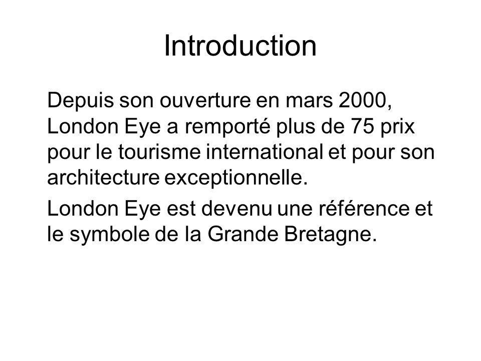 Introduction Depuis son ouverture en mars 2000, London Eye a remporté plus de 75 prix pour le tourisme international et pour son architecture exceptio