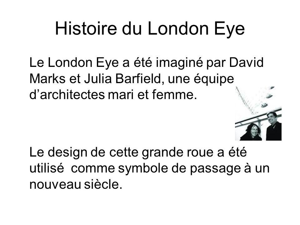 Histoire du London Eye Le London Eye a été imaginé par David Marks et Julia Barfield, une équipe darchitectes mari et femme. Le design de cette grande