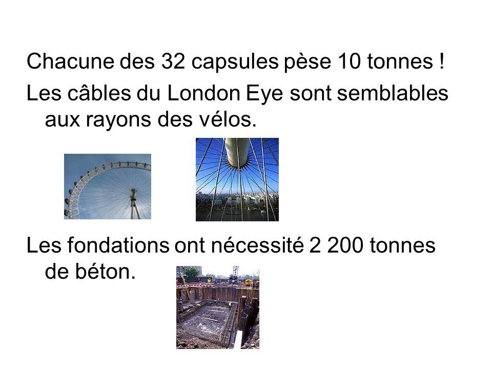 Chacune des 32 capsules pèse 10 tonnes ! Les câbles du London Eye sont semblables aux rayons des vélos. Les fondations ont nécessité 2 200 tonnes de b