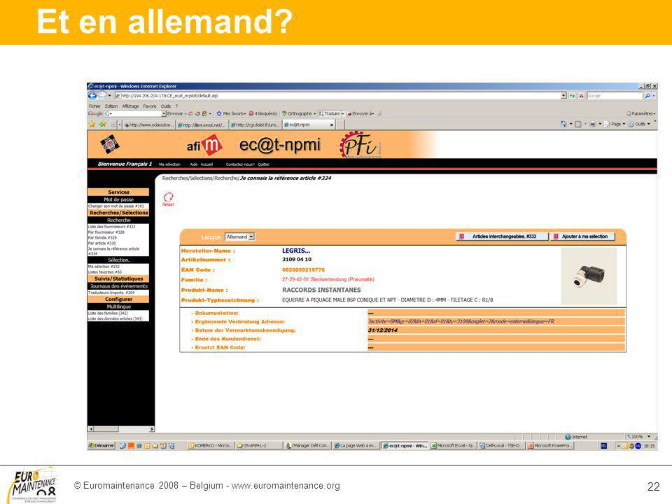 © Euromaintenance 2008 – Belgium - www.euromaintenance.org 22 Et en allemand