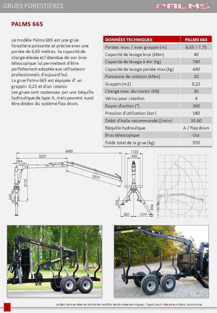 Le modèle Palms 665 est une grue forestière puissante et précise avec une portée de 6,65 mètres. Sa capacité de charge élevée et l'étendue de son bras